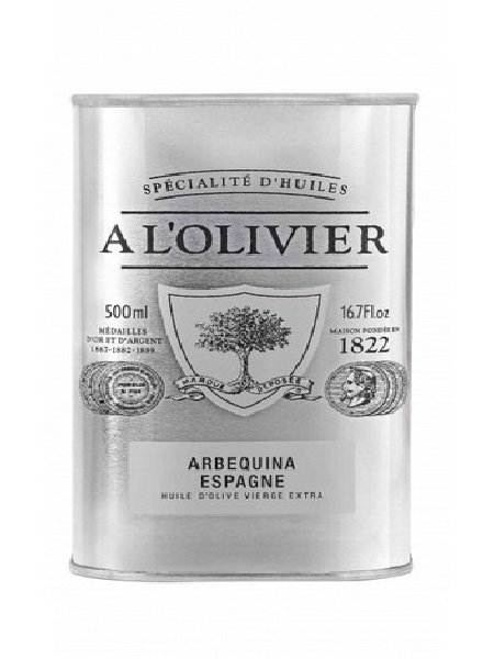 A l'Olivier Huile d'olive Vierge Extra variété Arbequina (Espagne) 500ml