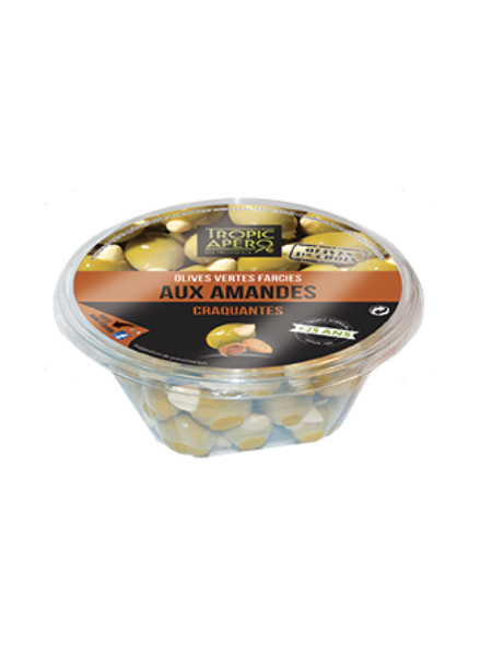 Tropic Apero Green olives stuffed with crunchy almonds 250g